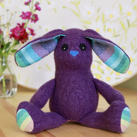 Indy,-,upcycled,wool,rabbit,easter bunny, plush, ecotoy, sustainable design, upcycle, eco friendly toys, easter basket, rabbit, babywearing, wrap scrap
