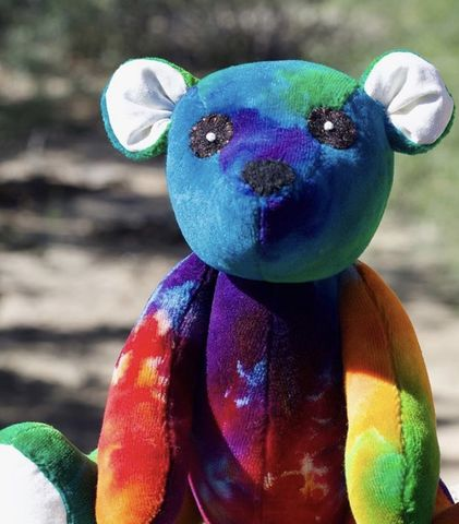 Reserved,for,Joelle,Rainbow,Teddy,Bear,-,Lily,&,Gus,and,Shanna's,Tie,Dye,teddy bear, plush, handmade plush, ecotoy, organic toy, tie dye