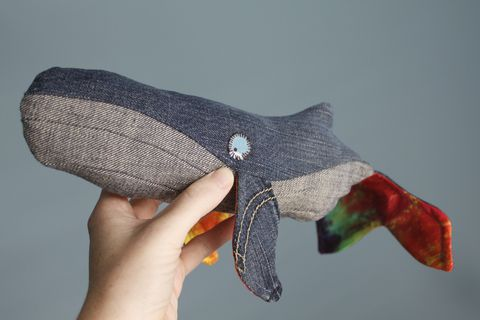 Upcycled,&,organic,lily,gus/Shanna's,Tie,Dye,whale,(medium),100% organic plush, organic lovey, upcycled lovey, upcycled jeans, organic stuffed animal, OOAK, heirloom toys, handmade plush, humpback whale, Shanna's tie dye, lily and gus, limited edition