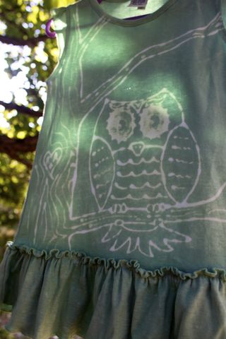 Owl,-,hand,dyed,ruffle,dress,with,original,design,Children,Clothing, dress, ruffles,owl, woodland nursery, trees,hand_dyed,eco friendly, earth friendly babydye_resist,baby_gifts,baby_shower,ocean
