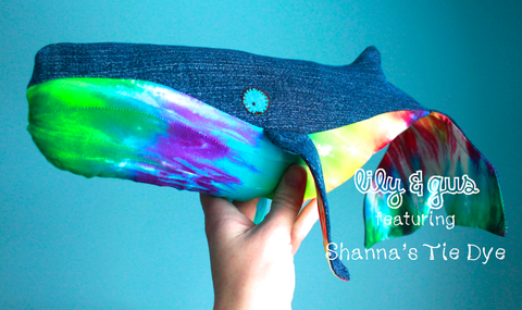 lily,&,gus/Shanna's,Tie,Dye,rainbow,whale,with,tie,dye,tummy,organic plush, organic lovey, upcycled lovey, upcycled jeans, organic stuffed animal, OOAK, heirloom toys, handmade plush, humpback whale, Shanna's tie dye, lily and gus, limited edition