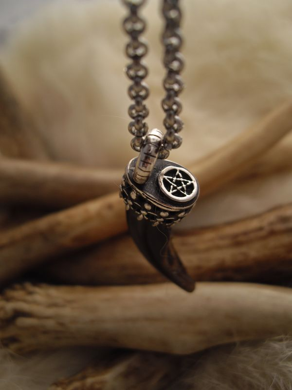 wolf claw and pentacle pendant necklace in sterling silver - product images  of