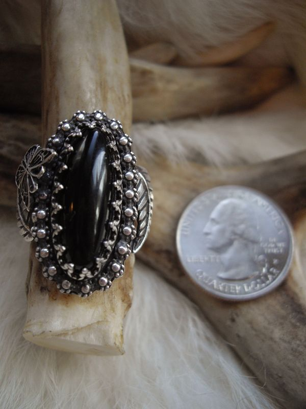 sterling silver ring with oval, black onyx stone   - product images  of
