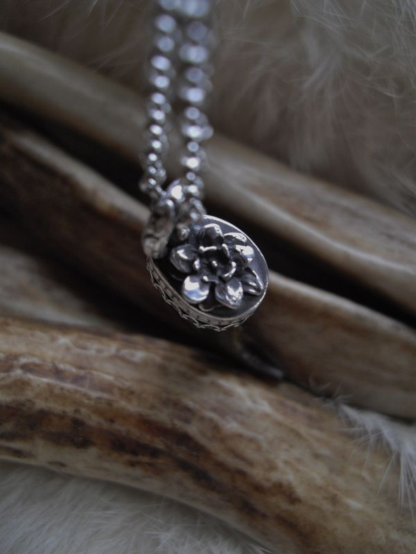 wolf claw and 3-D flower pendant necklace in sterling silver - product images  of
