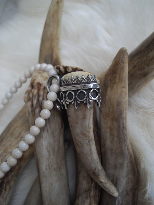 deer antler tip and elk ivory  set in a sterling silver cap pendant necklace - product images  of
