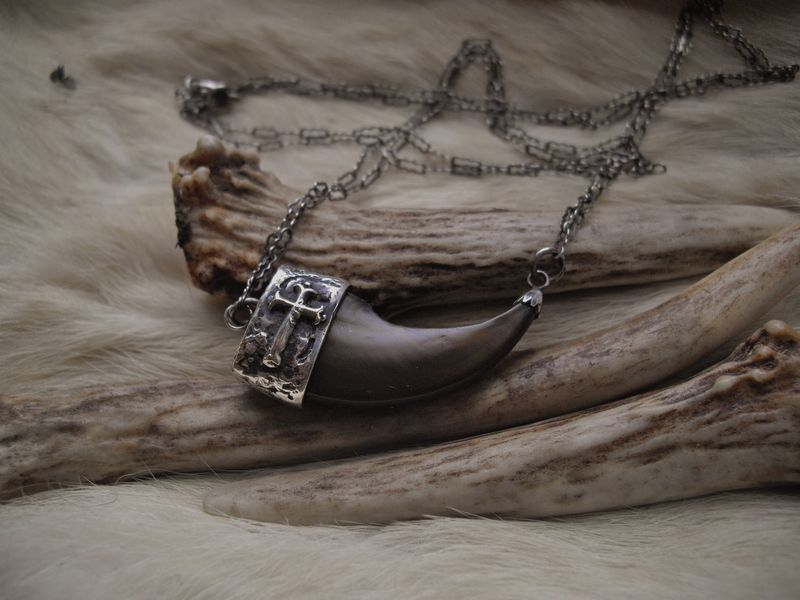 Genuine bear claw and sterling silver cross pendant necklace - product images  of