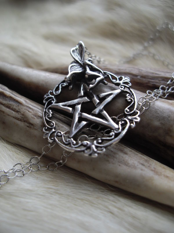 pentacle and fairy necklace, sterling silver, victorian, gothic  style - product images  of
