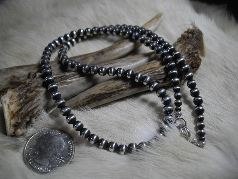 Navajo pearl style sterling silver 5mm round beaded chain in 19.25 inch length  - product images  of