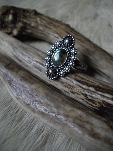 sterling,silver,boho,gypsy,labradorite,ring,in,size,8,sterling silver ring, flower ring, size 8,  handmade rings, statement ring, labradorite stone, oval stone ring, floral ring, handmade, one of a kind, sterling silver