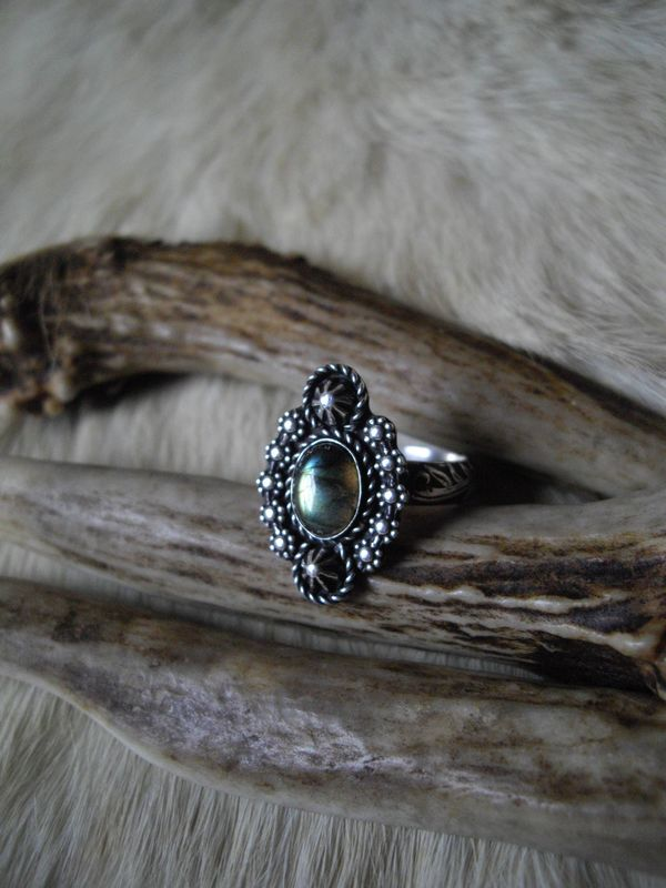 sterling silver  boho gypsy labradorite ring in size 8 - product images  of