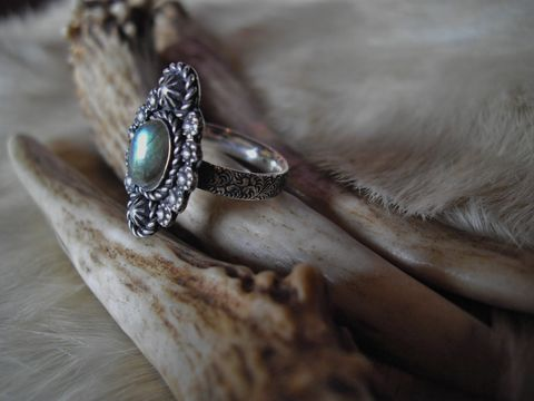 sterling,silver,boho,gypsy,southwest,style,labradorite,ring,in,size,6,sterling silver ring, flower ring, size 6,  handmade rings, statement ring, labradorite stone, oval stone ring, floral ring, handmade, one of a kind, sterling silver