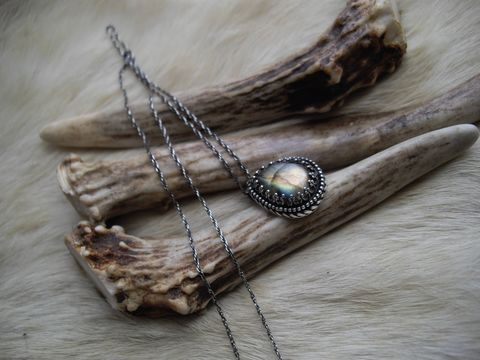 Labradorite,pendant,necklace,in,sterling,silver,labradorite necklace, sterling silver necklace, bear country studio, teardrop, birthstone necklace, modern, victorian necklace, rustic, antiqued, southwest