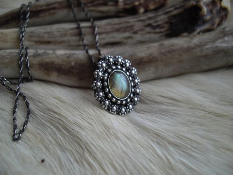 Oval,Labradorite,pendant,necklace,in,sterling,silver,labradorite necklace, sterling silver necklace, bear country studio, oval, flowers, floral,  birthstone necklace, modern, victorian necklace, rustic, antiqued, southwest