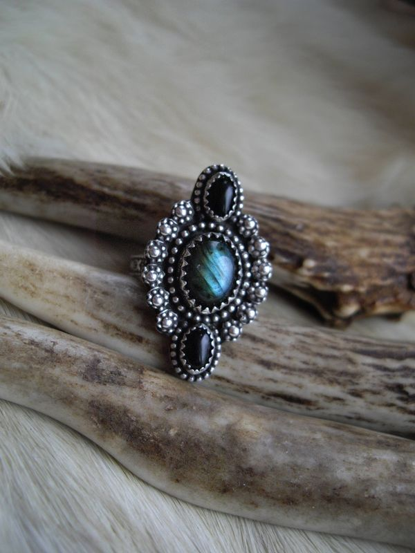 sterling silver boho gypsy southwest style labradorite and onyx pinkie ring in size 3 1/2 - product images  of