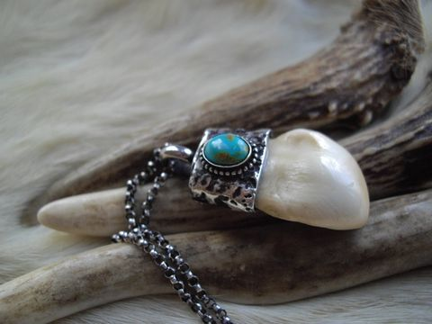Elk,ivory,and,turquoise,pendant,necklace,set,in,sterling,silver,elk, elk jewelry,  elk ivory, elk tooth, turquoise, turquoise jewelry, rustic, elk necklace, jewelry for men, bear country studio, custom jewelry