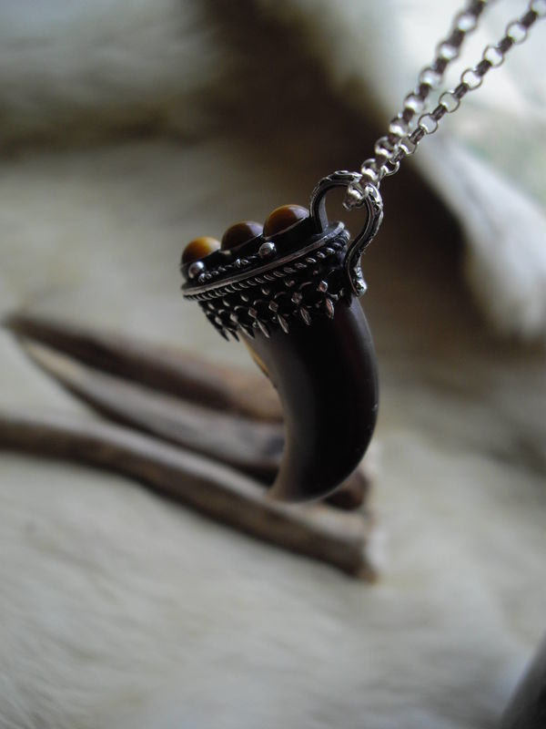Genuine black bear claw set in a sterling silver and Tiger's Eye pendant necklace - product images  of