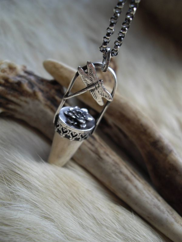 Sterling silver antler tip,   flower and dragonfly pendant necklace   - product images  of