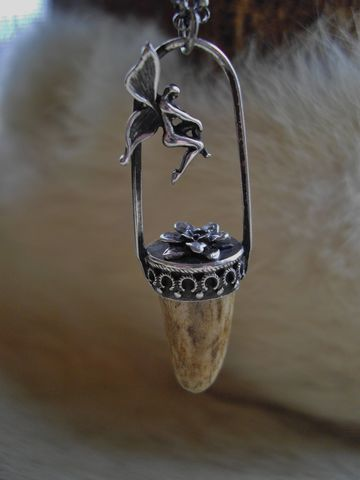 Sterling,silver,antler,tip,,flower,and,fairy,pixie,pendant,necklace,bear country studio, handmade jewelry, hunting jewelry for her,  jewelry for hunters, jewelry from antlers, antler necklace for sale, horn necklaces, antler tip jewelry, flower necklace in silver, fairy jewelry, pixie necklaces, woodland, whimsical,  rust