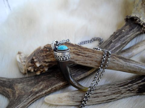 genuine,wolf,claw,and,turquoise,pendant,necklace,in,sterling,silver,bear country studio, wolf claw necklace, claw jewelry, wolf jewelry, totem wolf, oval turquoise, spirit wolf necklace, blue stone, turquoise necklace, sterling silver, silver claw jewelry, silver wolf jewelry, talisman necklace, nordic, noir, celtic neckl