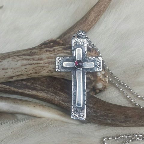 RESERVED:,Abstract,cross,pendant,necklace,of,sterling,silver,and,garnet, cross necklace, religious jewelry, gothic cross, noir, antique, abstract cross, sterling silver necklace, garnet, round stone, birthstone necklace, handmade, one-of-a-kind