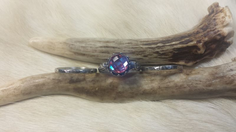 Brazilian Mystic Topaz stacking ring set in sterling silver - product images  of