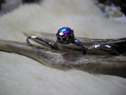 Brazilian,Mystic,Topaz,stacking,ring,set,in,sterling,silver,bear country studio, topaz ring, mystic topaz, sterling silver topaz ring, stack rings, size 7.5 rings, blue stone rings, faceted topaz ring, engagement rings, promise rings, artisan-crafted
