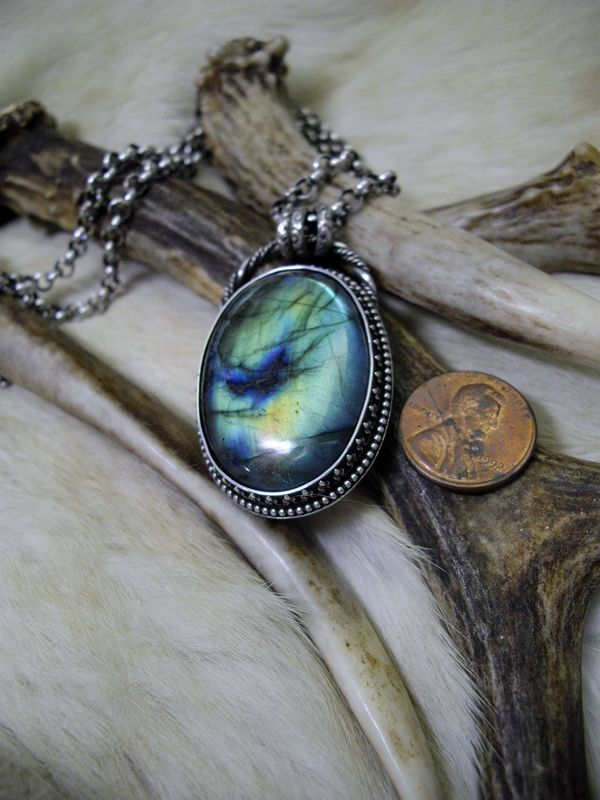 Blue and Green Labradorite and sterling silver   pendant on a sterling rolo chain  - product images  of