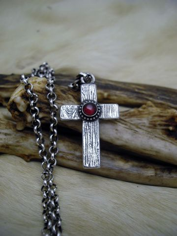 Sterling,silver,and,Garnet,wood,grain,cross,pendant,necklace,cross necklace, cross pendant, silver cross, wooden cross, custom cross, garnet, red stone, january birthstone, valentine necklace,   rustic cross, religious necklace, christian jewelry, handmade