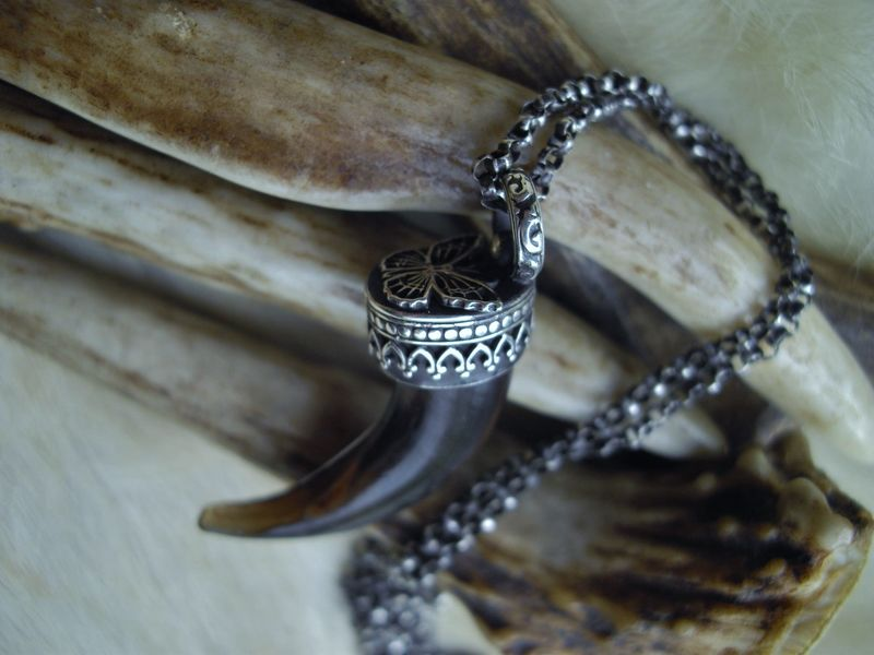 Wolf claw and Butterfly pendant necklace talisman - product images  of