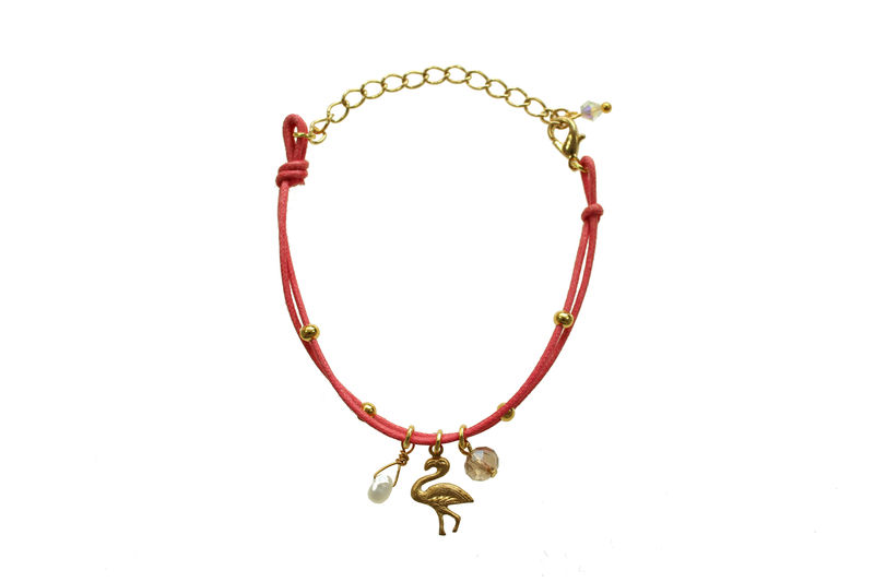 Flamingo & Pearl charm friendship bracelet - product image