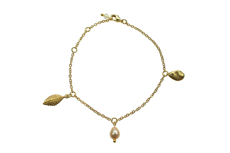 Leaf & Pearl charm chain bracelet - product image