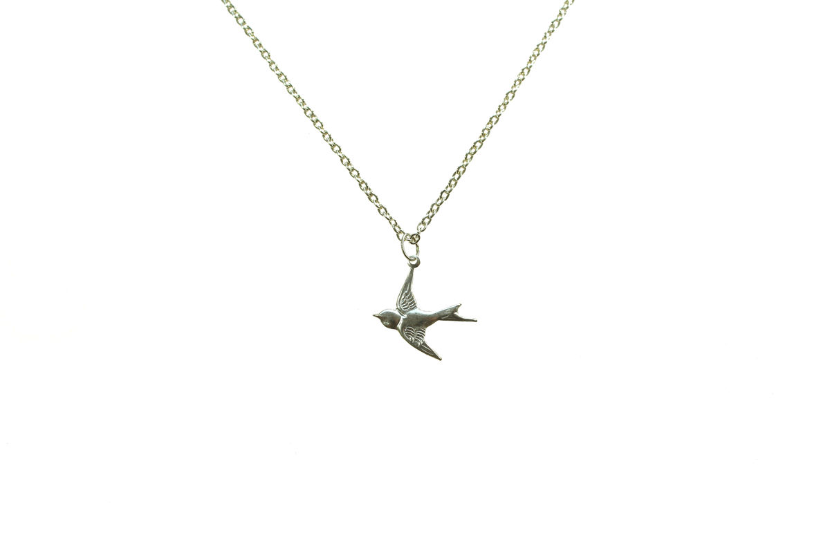 Silver swallow charm necklace chrystal day london silver swallow charm necklace 28 mozeypictures Gallery