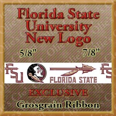 Florida,State,University,New,Logo,Custom,Printed,Grosgrain,Ribbon,Florida State Seminoles ribbon, mlb grosgrain ribbon, nfl grosgrain ribbon, nba grosgrain ribbon, ncaa grosgrain ribbon, nhl grosgrain ribbon, custom printed grosgrain ribbon, designer grosgrain ribbon, team grosgrain ribbon