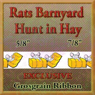Rats,Barnyard,Hunt,With,Hay,Custom,Printed,Grosgrain,Ribbon,Rats Barnyard Hunt With Hay Custom Printed Grosgrain Ribbon, novelty craft ribbon, designer grosgrain ribbon, custom printed ribbon, usa made grosgrain ribbon