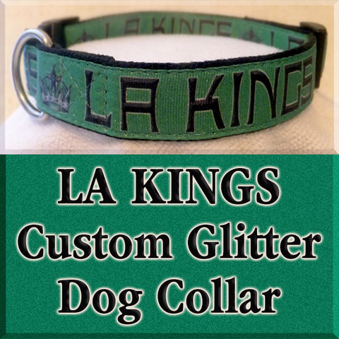 LA,Kings,NHL,Ice,Hockey,Custom,Dog,Collar,LA Kings NHL Ice Hockey Custom Dog Collar, custom made dog collar, custom team dog collar