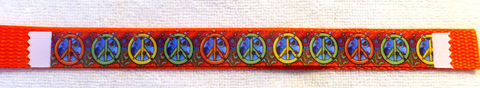 Custom,Color,Psychodelic,Peace,Signs,Orange,Green,Yellow,Dog,Collar,Custom Color Psychodelic Peace Signs Orange Green Yellow Custom Dog Collar, custom made dog collar, custom team dog collar