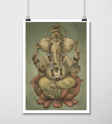 'Ganesha',Signed,Giclee,Print,A3,Ganesha, hindu, hinduism, deity, art, print, illustration, giclee, elephant, india, sri lanka, patron, arts, sciences, buddhism, god, lord, religion, beginnings, housewarming, gift, present, birthday, graduation, house, interior, design, wall, decoration