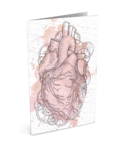 Anatomical,Heart,Greeting,Card,(SINGLE),illustration, art, sumi, senthi, by, greeting, card, pencil, drawing, heart, anatomical, love, medicine, valentine, valentine's, day, husband, wife, him, for, her, romantic, romance, birthday,