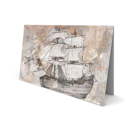 Ship,Greeting,Card,(SINGLE),ship, nautical, map, goodbye, fair, winds, goodluck, pirate, illustration, art, sumi, senthi, by, greeting, card, pencil, torn, magazine, sailor, saylor, travel, world