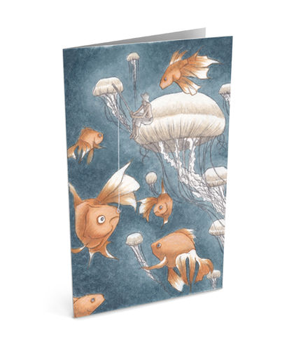 Fishing,For,Ideas,Greeting,Card,(SINGLE),fish, fishing, for, ideas, jellyfish, greeting, card, illustration, art, celebration