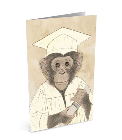 Graduation,Greeting,Card,(SINGLE),greeting, card, chimp, chimpanzee, monkey, graduation, gift, animal, university, student, hairy, coffee, tea, congratulations, congrats, well done, illustration, art, torn, magazine, drawing, painting, digital, mixed, media, traditional