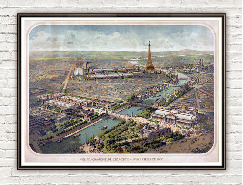 Vintage Photo of Paris, Panoramic view of the Exposition Universelle, France 1900 - product images