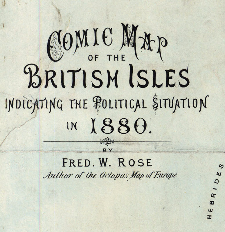 Old Map of United Kingdom, Ireland, Scotland, England 1880 UK, British Isles Comic Map - product image