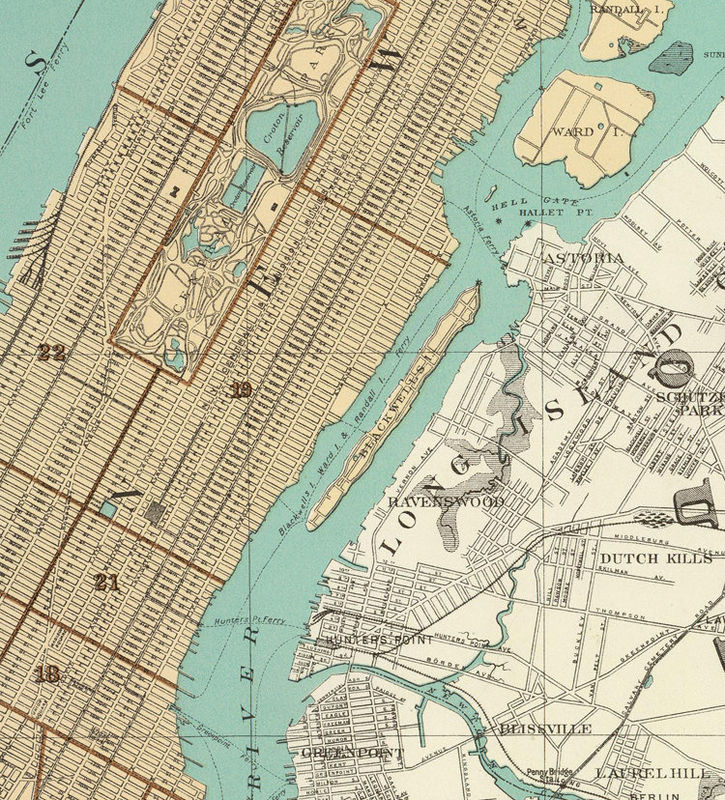 Old Map of New York 1895 Manhattan - product image