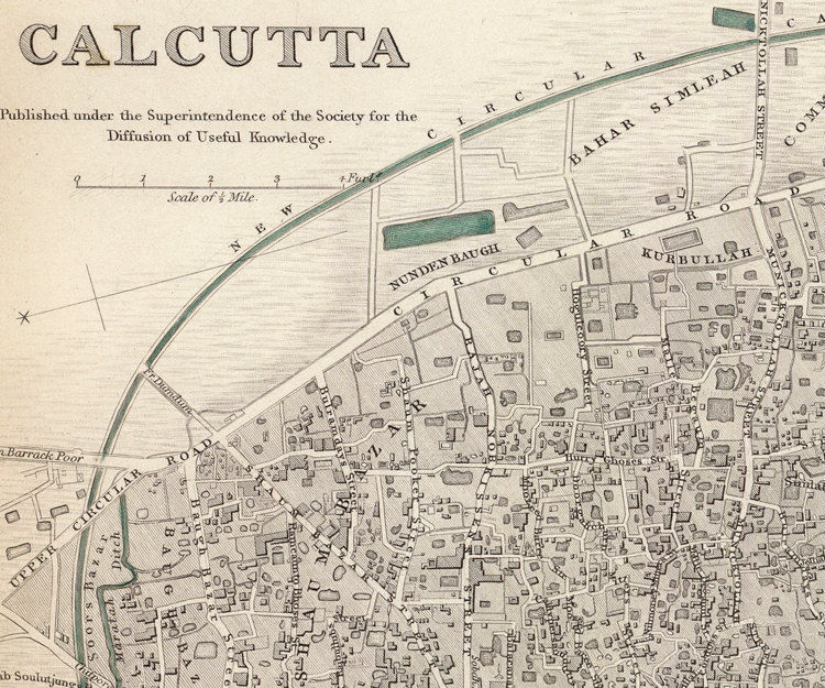 Old Map of Calcutta Kolkata, India 1842 Antique Vintage - product images  of