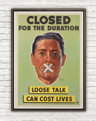 Vintage,War,Poster,loose,talk,can,cost,lives,(5),1942,Art,Reproduction,Open_Edition,vintage_poster,travel_poster,wall_decor,advertise_poster,oldcityprints,recruitment,world_war_poster,WWII,london,war_poster,american_war,war_propaganda,retro_war_poster