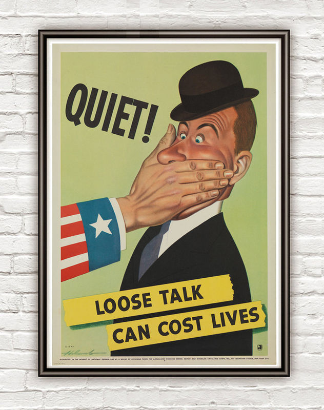 Vintage War Poster loose talk can cost lives (3) 1942 - product image
