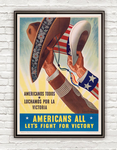 Vintage,War,Poster,americans,all,lets,fight,for,victory,1943,Art,Reproduction,Open_Edition,vintage_poster,travel_poster,wall_decor,advertise_poster,oldcityprints,recruitment,world_war_poster,WWII,london,war_poster,american_war,war_propaganda,retro_war_poster