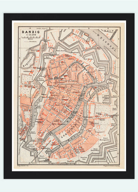 vintage Map City Plan of Gdansk, Poland 1880 Vintage - product images  of