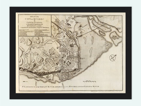 Old,Map,of,Quebec,City,and,fortifications,,Canada,1759,Art,Reproduction,Illustration